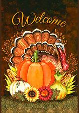 """Harvest Turkey"" 12.5"" x 18"" Fall Garden Flag by Toland"