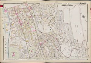1911 WESTCHESTER YONKERS PARK HILL COUNTRY CLUB NY CARYL AV TO VARK ST ATLAS MAP