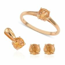 Citrine Solitaire Ring, Pendant and Stud Earrings in14K Gold Overlay Ster Silver