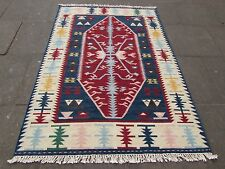 VECCHIO fatto a mano tradizionale Indiano Orientale Kilim Blu Rosso Lana Kilim 201x140cm