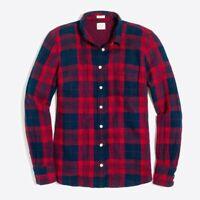 J Crew Womens Boy Fit Double Faced Wash Button Up Shirt Plaid Red Blue Sz M