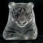 "Mats Jonasson Tiger Sculpture 6"" Crystal Paperweight Royal Krona 3146"