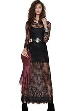 Cute Black Reverse Lace Lady Maxi Long Dress