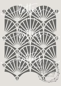 A4 STENCIL - GATSBY 005 Art Deco 1920 PATTERN Fabric Furniture Vintage 190 MYLAR