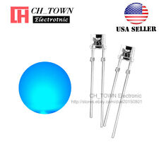 100PCS 3mm Flat Top Water Clear Blue Light Wide Angle 120Deg LED Diodes USA