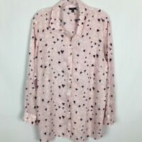 Talbot's Women's Button Front Blouse ~ 2X ~ Pink with Black & White Hearts Print