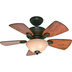 """Hunter Watson 34"""" Indoor Home Ceiling Fan with LED Light and Remote, New Bronze"""