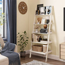 5 Tier Leaning Ladder Wall Shelf in White Bookcase Bookshelf Storage Plant stand