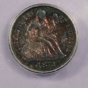 1872-P 1872 Seated Liberty Dime ICG AU53 Beautifully toned! Very Colorful!