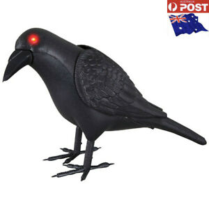 """7"""" Animated Crow Sound Activated Light Up Eyes Wing Move Halloween Prop Party-AU"""
