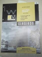 Wolverine Porcelain Enameling Co Catalog~Glasiron Insulated Panels/Asbestos~1962
