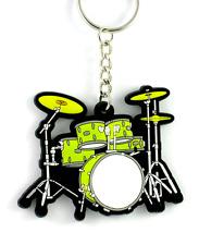 Drum Kit Keyring - Green in PVC - Music Gift - Gift for Drummer or Teacher