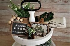 5 Piece Mini Sign Set / Tiered Tray Bowl Gift Set Filler / Farmhouse Rustic