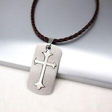 Silber Dog Tag Kreuz Edelstahl Anhänger 3mm Braun Leder Halskette Geflochten