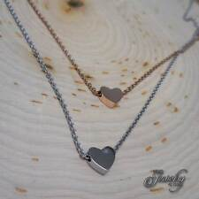 """Rose & Silver Double Layer Heart Pendant Necklace 14""""-16"""" Stainless Steel"""