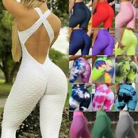 Womens Yoga Jumpsuit Bodysuit Leggings Pants Anti Cellulite Exercise Rompers Gym