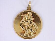 St Christopher Pendant 9ct Gold Ladies Gents Good Luck 375 4g AJ94