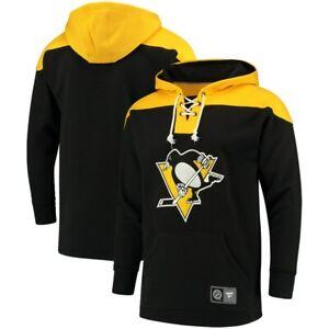 Fanatics Men's NHL PITTSBURGH PENGUINS Breakaway Lace Up Black Hoody Hoodie NWT