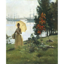 More details for a young lady with a parasol, 1887 - a edelfelt print