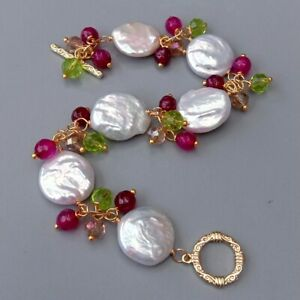 Cultured White Coin Pearl Fuchsia Agate Crystal BraceletJewelry For Women Gift