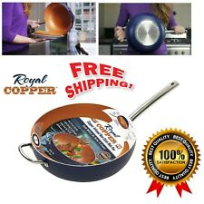 "12"" Copper Wok Pan Nonstick Cookware Induction StirFry Kitchen Cooking Oven Safe"