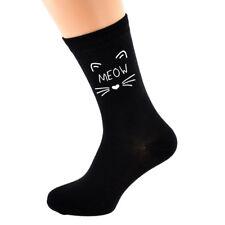 Mens Black Socks Novelty pet cat MEOW Socks Size 5-12 X6N728
