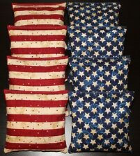 Patriotic AMERICAN STARS Blue & Red Cornhole Bean Bags ACA Regulation Quality!!