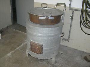 Waschkessel Wurstkessel Schlachtkessel mit Feuerstelle Kupfereinsatz 50er Jahre