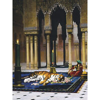 Gerome Grief Of The Pasha Mourning Tiger Painting Large Canvas Art Print