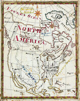 1816 Children's Map of North America Wall Art Poster Print Décor Artwork School