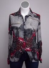 NWT $95 Factice L Gray Denim Floral Print Button Down Shirt Top Blouse Club Wear