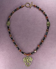 Dragon Black Agate Necklace Red Dark Gold Fantasy Mythical Magical Pagan Wicca