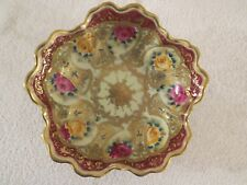 """ANTIQUE NIPPON MORIAGE BEADS GOLD GILT & HAND PAINTED ROSES 10"""" SERVING BOWL"""