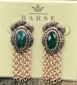 Barse Isabel Green Onyx Earrings-Copper- NWT