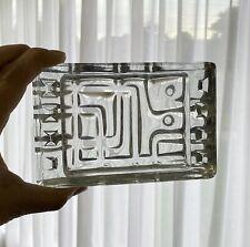Vintage 1968 SKLO UNION Rosice VLADISLAV URBAN Clear GEOMETRIC Glass ASHTRAY