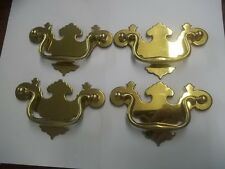 VINTAGE LOT OF 4 BRASS FURNITURE DRAWER PULLS HANDLES ESTATE FIND