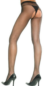 One Size Fits Most Womens Seamless Crotchless Fishnet Pantyhose, Crotchless
