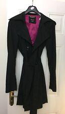 Miss Sixty Black Belted Trenchcoat / Mac - Size Medium