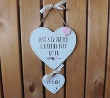 Mr & Mrs White Wooden Heart Plaque Love Laughter Happily Ever After Sign Wedding