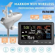 Wireless Solar Weather Forecast Station WIFI Rain Gauge Wind Meter Alarm Outdoor