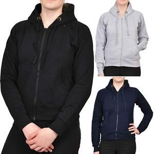 Womens Ladies Hoodies Zip Up Fleece Plain Sweatshirt Jumper Hooded Jacket Top UK