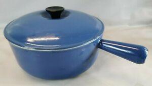 CASSEROLE + Couvercle marque LE CREUSET diam 24 Bleue vintage POELON Cuisine F