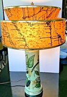 Mid Century Table Lamp Artist Signed Two Tiered Spectactular Fiberglass Shade