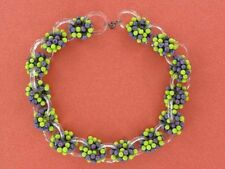 FRENCH Magnificent Purple / Chartreuse Glass Clusters Collar Necklace (NK1792)