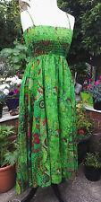 FAIRTRADE Vibrant Green Cotton Patchwork Floral Print Long Dress Boho FREESIZE