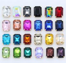 36pcs Sew On 14x10mm rectangle rhinestone cut crystal glass bead golden claw diy