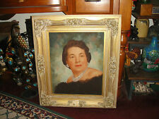 Vintage Oil Painting On Board-Glamorous Woman W/Jewelry-Large-Detailed Frame
