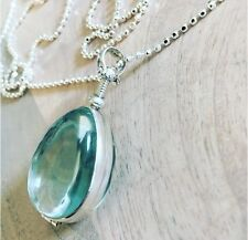 "Sterling silver antique glass Pear Shaped locket Pendant Necklace 31"" Brand New"