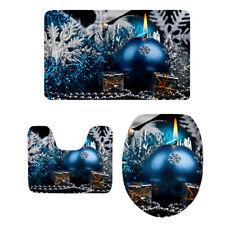 3pcs/Set Bathroom Toilet Mat & Seat Cover Snowflake Xmas Bath Rug Non Slip