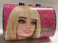 "Barbie Hard Rounded Carrying Case Mattel Pink & Blue Rare Logo Metal 11""x8""x6"""